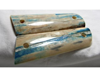 SOLD!BLUE BARK FOSSILIZED WALRUS IVORY 1911 GRIPS A-1393
