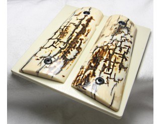 SOLD!ICE CRACKLE BARK MAMMOTH IVORY 1911 GRIPS A-1838