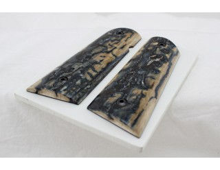 Sold!BEAUTIFUL BLUE BARK MAMMOTH IVORY 1911 GRIPS A-2004