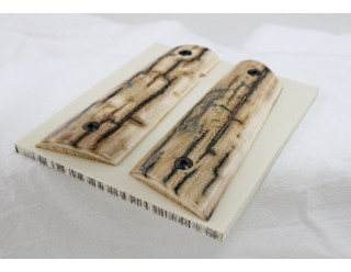 SOLD!BARK MAMMOTH IVORY 1911 GRIPS A-2193